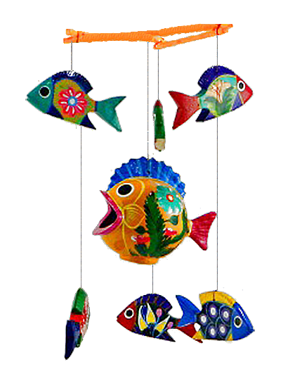 Wooden fish mobile