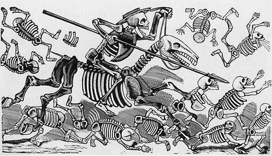 etching with skeleton figures