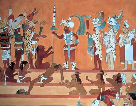 Mexican folk painting for Bonampak mural painting