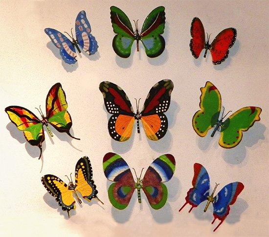 paper mache butterflies on wall