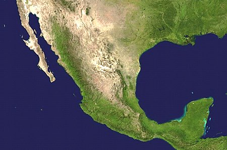 Mexico satellite map