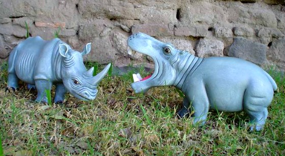 Papier mache Sermel Hippo and Rhino
